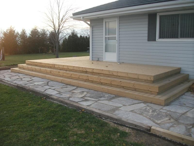 Wood deck steps