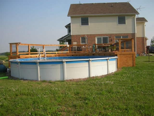 Cedar stained pool deck