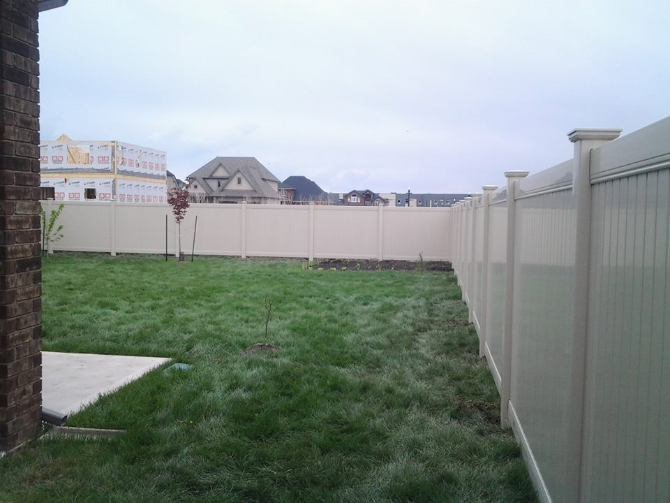 Almond vinyl fence in belle river