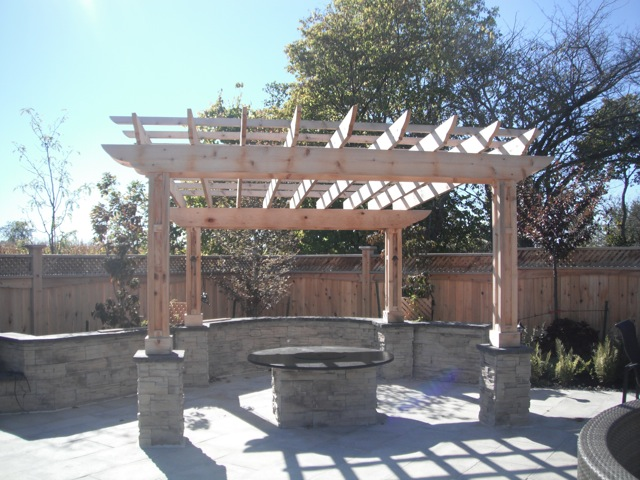 Cedar Pergola with stone collums