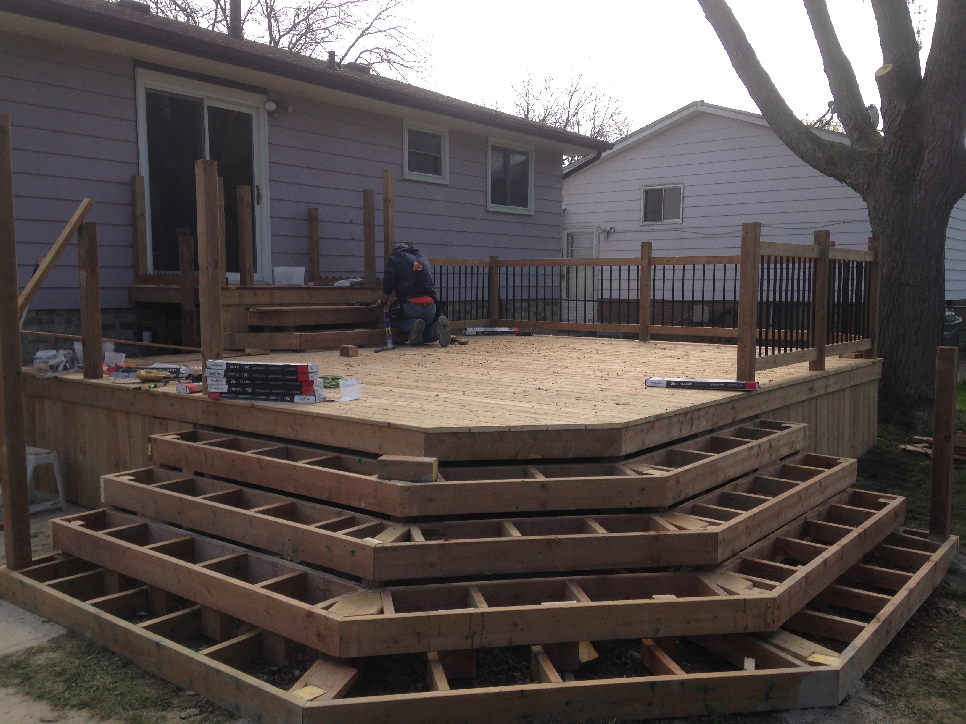 Wrap around wood deck steps
