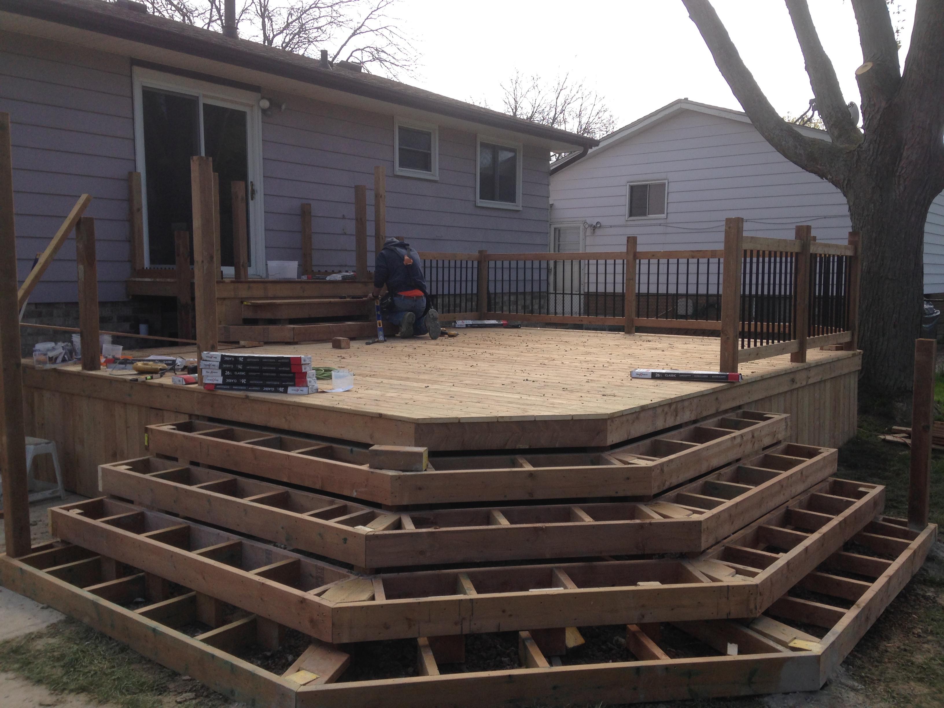Wrap around wood deck steps