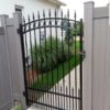 vinyl fence with iron gate
