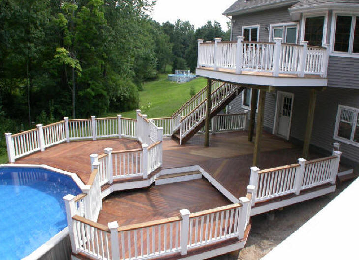 Ipe tropical hardwood decking decks and fences by ryan for Multi level deck above ground pool